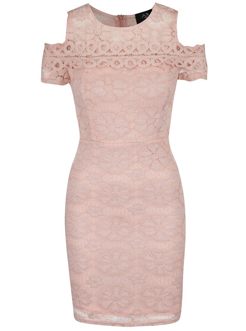 7e973f69d7c3 Ružové čipkované šaty s prestrihmi na ramenách AX Paris
