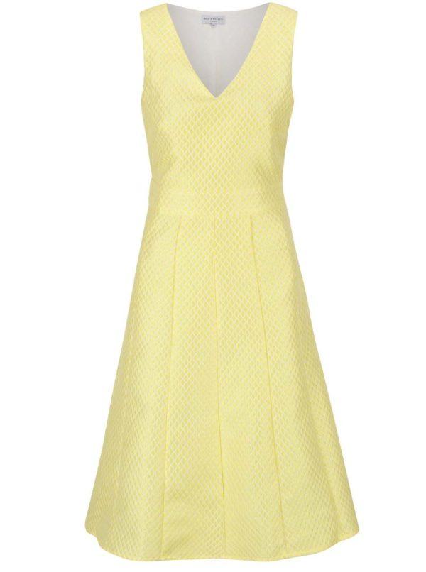 Žlté šaty s jemným vzorom Wolf & Whistle