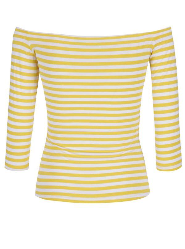 Žlté pruhované tričko s lodičkovým výstrihom Dolly & Dotty Gloria