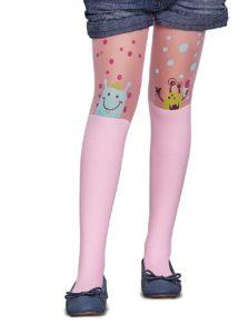 Ružové dievčenské pančuchy s bodkami Penti Caroline 30 DEN