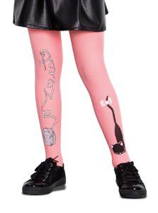 Ružové dievčenské pančuchy s motívom mačiatka Penti Cat Ball 50 DEN