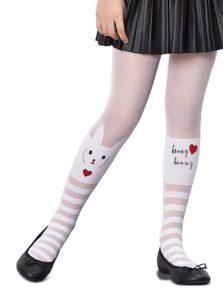 Biele dievčenské pančuchy s motívom králika Penti Love Bunny 30 DEN