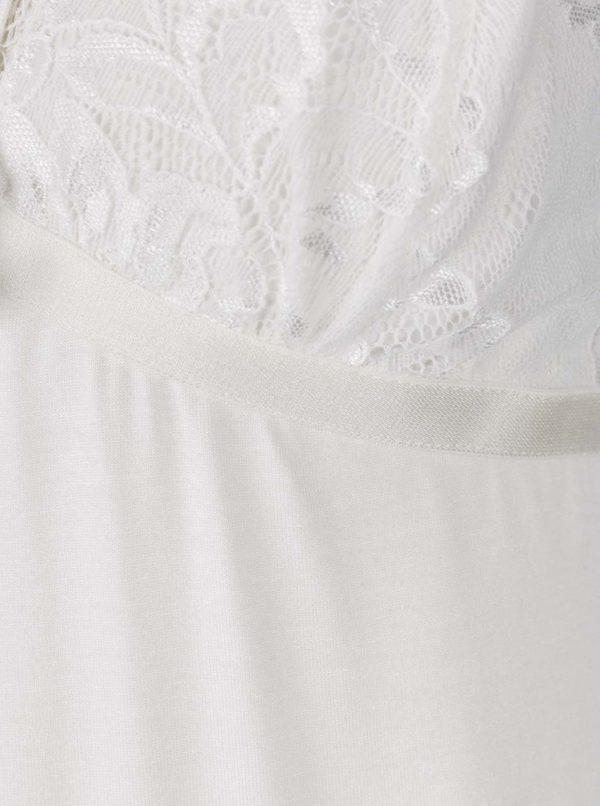 Krémová nočná košieľka s čipkovanými detailmi a pásikmi v dekolte Eldar Elektra