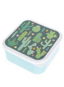 Tyrkysový box na jedlo s potlačou kaktusov Sass & Belle