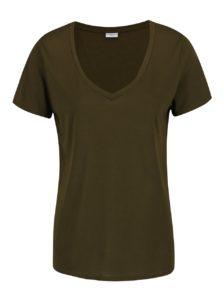 Kaki tričko s véčkovým výstrihom Jacqueline de Yong Spirit