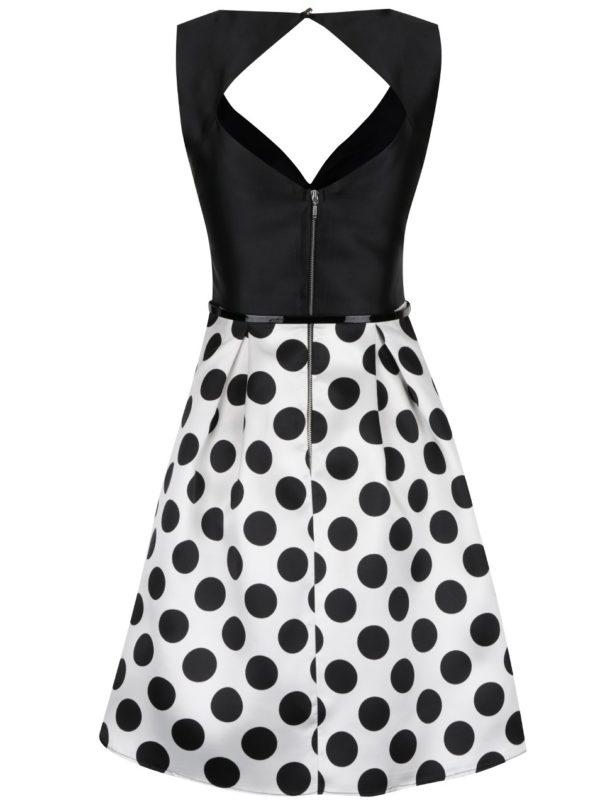 Čierno-biele šaty s bodkovanou sukňou Dorothy Perkins