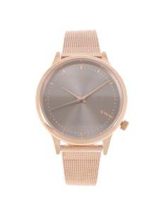 Dámske hodinky vo farbe ružového zlata, s kovovým opaskom Komono Estelle Royale