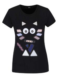 Čierne tričko s farebnou aplikáciou KARL LAGERFELD