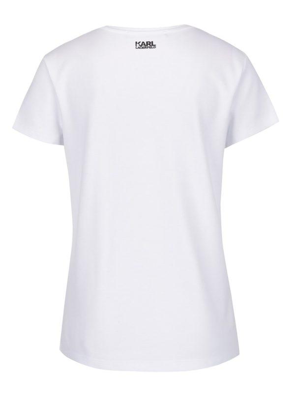Biele tričko s farebnou aplikáciou KARL LAGERFELD