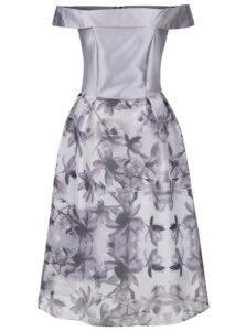 Svetlosivé šaty s kvetovanou sukňou a odhalenými ramenami Dorothy Perkins