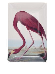 Červeno-krémová porcelánová miska s potlačou Magpie Birds