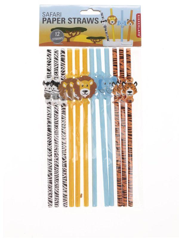 Ekologické slamky v bielej, žltej, modrej a oranžovej farbe Kikkerland