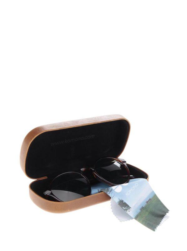 Hnedo-čierne unisex slnečné okuliare Komono Devon