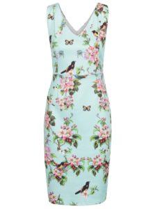 Mentolové kvetované šaty s potlačou vtákov Smashed Lemon