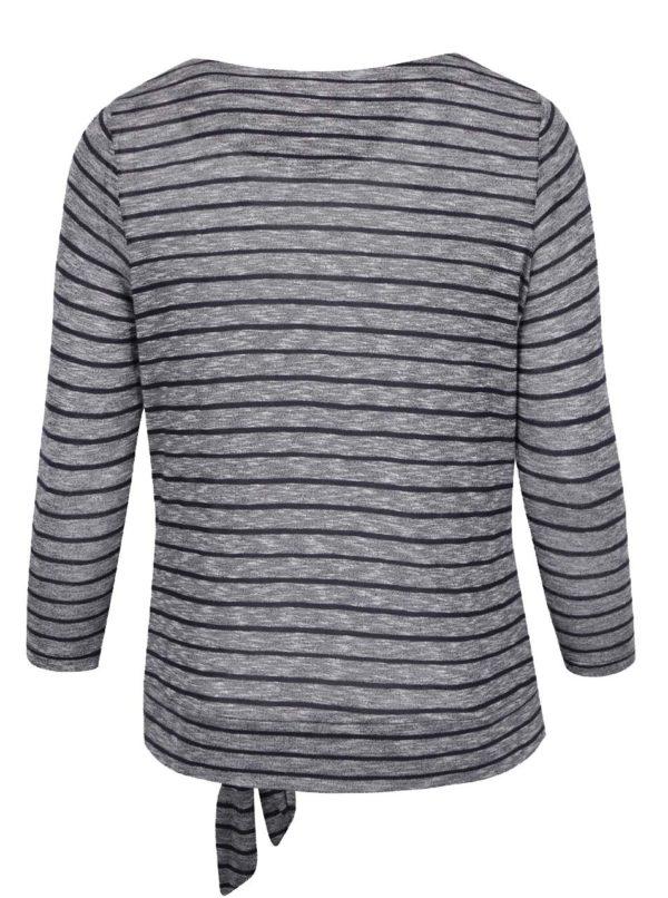 Sivo-modré dámske pruhované tričko s uzlíkom M&Co