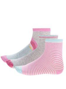 Súprava troch párov dievčenských ponožiek v ružovej a sivej farbe s papagájom 5.10.15.