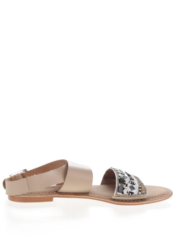 Béžové kožené sandálky VERO MODA Melise