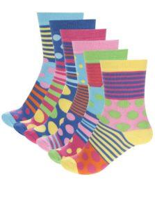 Súprava šestich dámskych farebných ponožiek Oddsocks Polka