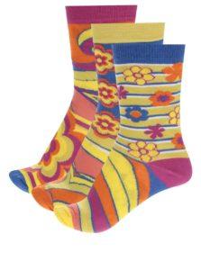Kolekcia troch dámskych ponožiek v žltej farbe Oddsocks Shirley
