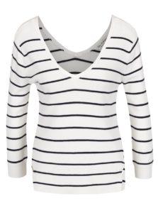 Krémový pruhovaný sveter s véčkovým výstrihom Miss Selfridge