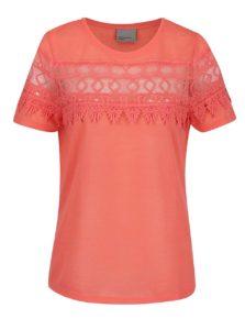 Ružové tričko s čipkou VERO MODA Melani