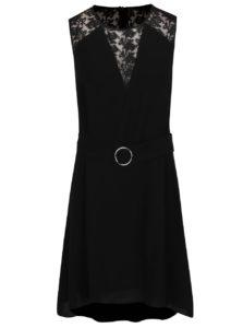 Čierne šaty s priehľadnými detailmi French Connection Hennessy
