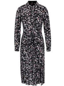 Čierne košeľové kvetované šaty Miss Selfridge