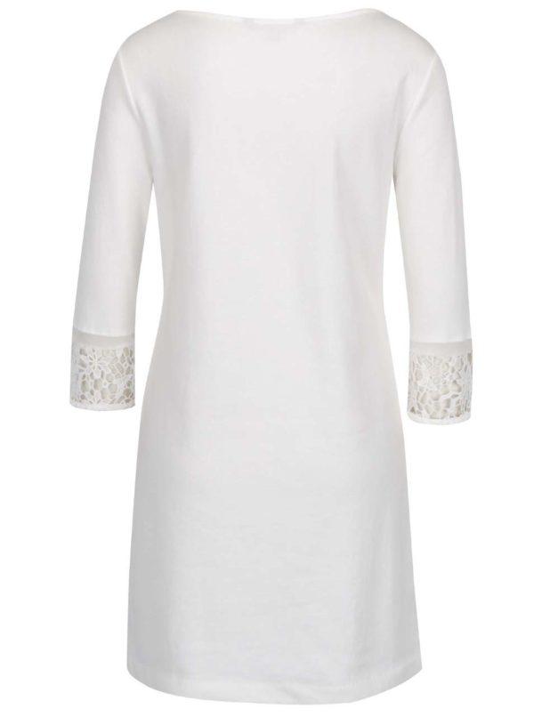 Krémové šaty s čipkou a 3/4 rukávmi French Connection Noland