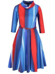 Červeno-modré vzorované šaty s 3/4 rukávom a opaskom Closet