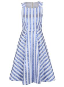 Krémové šaty s lesklými modrými pruhmi Closet