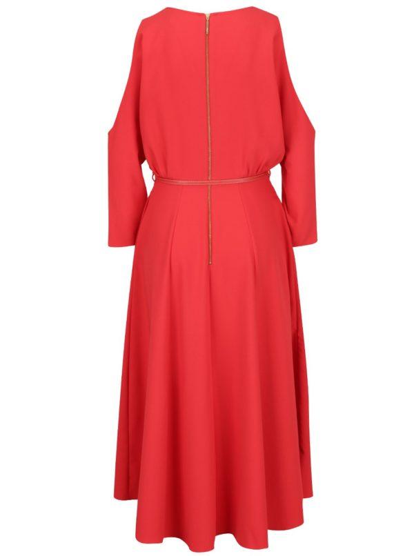 733d61254a06 Červené šaty s prestrihmi na ramenách a opaskom Closet