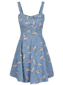 Modré kvetované šaty s mašľou na chrbte Apricot