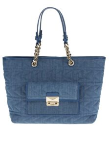 Modrý prešívaný shopper s koženými detailmi KARL LAGERFELD