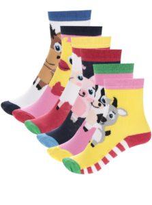 Súprava šiestich detských ponožiek s motívmi zvieratiek Oddsocks Pen