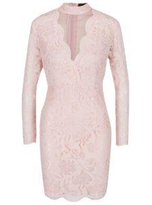 Ružové čipkované šaty s prestrihom v dekolte AX Paris