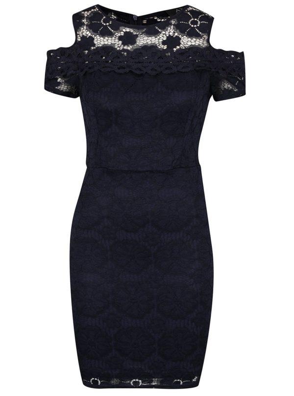 Tmavomodré čipkované šaty s prestrihmi na ramenách AX Paris