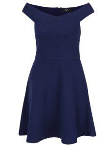 Tmavomodré šaty s odhalenými ramenami AX Paris