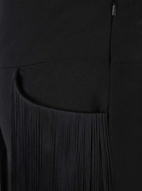 Čierne culottes nohavice so strapcami Idol Ray