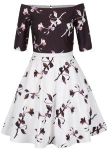 Hnedo-krémové vzorované šaty Little Mistress