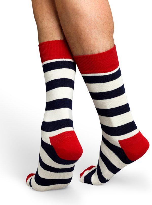 Pruhované ponožky v červenej, bielej a čiernej farbe Happy Socks Stripe