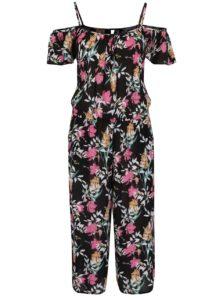 Čierny kvetovaný overal s odhalenými ramenami Dorothy Perkins