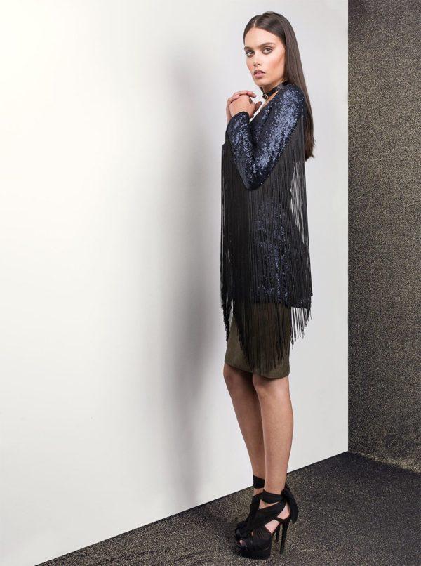 Tmavomodré šaty so strapcami a flitrami Idol Ray