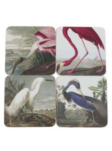 Súprava štyroch podložiek pod pohár s motívom vtákov Magpie Birds