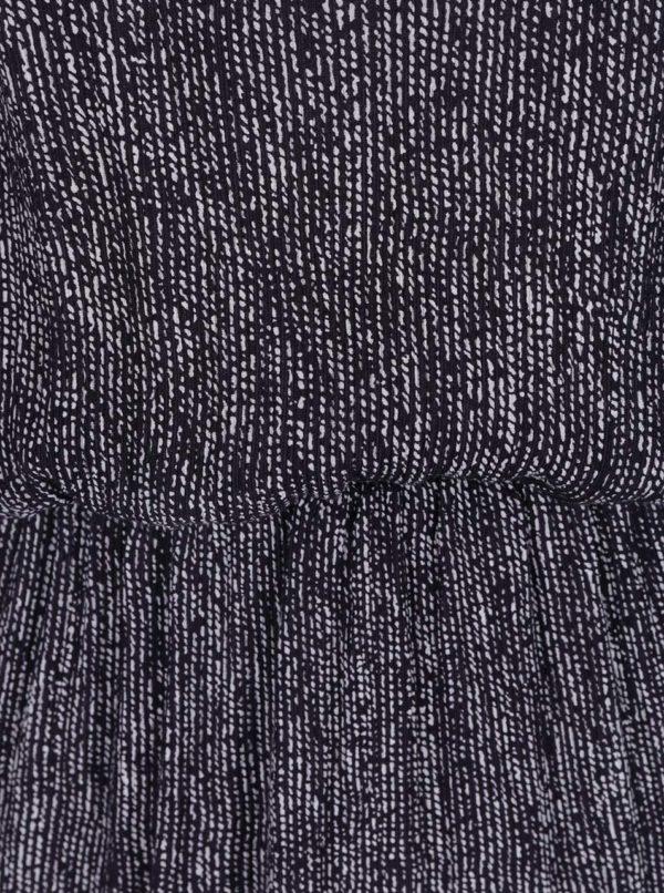Tmavomodré vzorované šaty so zapínaním na chrbte Skunkfunk
