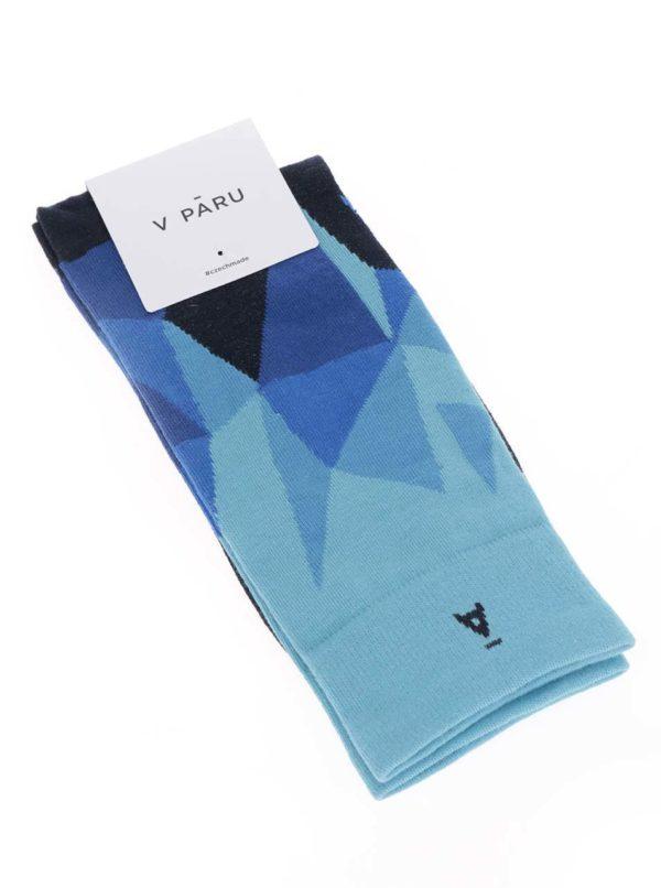 Čierno-modré vzorované unisex ponožky V páru