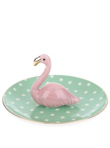 Ružovo-zelený tanierik na šperky s plameniakom Sass & Belle