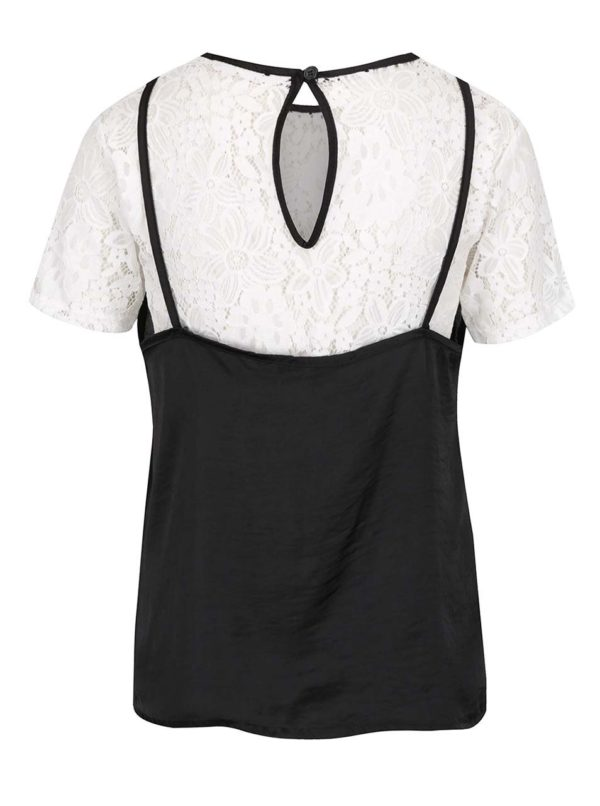 Čierno-biely čipkovaný top s krátkym rukávom Haily's Sare