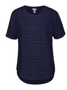 Tmavomodré tričko s priesvitnými pruhmi Bench