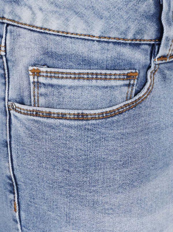 Modré rifľové kraťasy s výšivkou VILA Demand