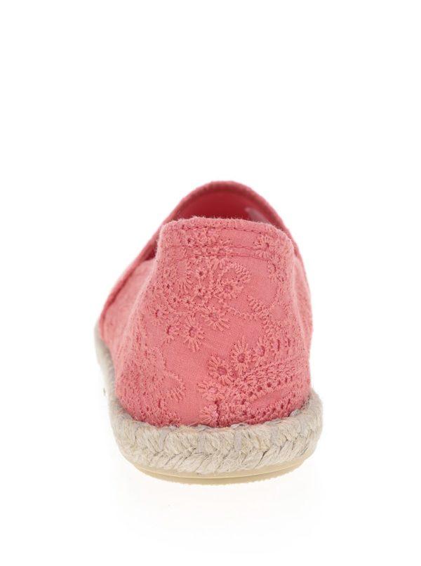 Ružové dámske espadrilky s vyšívaným vzorom OJJU